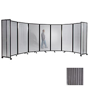 Portable Mobile Room Divider, 4'x25' Polycarbonate, Gray
