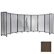 Portable Mobile Room Divider, 6'x25' Polycarbonate, Bronze