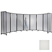 "Portable Mobile Room Divider, 6'10""x19'6"" Polycarbonate, Opal"