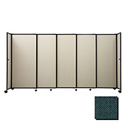 "Portable Sliding Panel Room Divider, 5'x15'6"" Fabric, Forest Green"