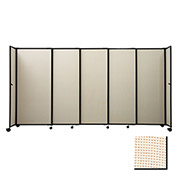 "Portable Sliding Panel Room Divider, 6'10""x15'6"" Fabric, Sand"