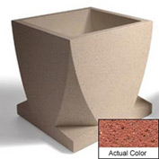 Wausau WS108 Square Outdoor Planter - Weatherstone Brick Red 30x30x30