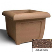 Wausau SL407 Square Outdoor Planter - Weatherstone Brown 38x38x30