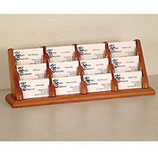 12 Pocket Counter Top Business Card Holder - Medium Oak