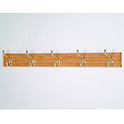 "36"" Coat Rack with 5 Brass Hooks - Light Oak"