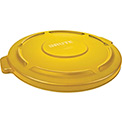 Flat Lid For 32 Gallon Round Trash Container - Yellow
