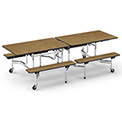 "Virco® MTB17298 Folding Roll-A-Way Table 96""L Oak Top Seats 8"