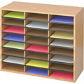 "24 Compartment Wood Literature Sorter - 23-1/2""H Oak"