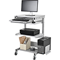 Mobile Computer Workstation with Printer Shelf and CPU Holder, Gray
