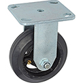 "Heavy Duty Rigid Plate Caster 5"" Mold-on Rubber Wheel 350 lb. Capacity"