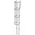 16 Step Steel Caged Walk Through Fixed Access Ladder, Gray - WLFC1216