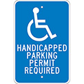 "Aluminum Sign - Handicapped Parking Permit - .08"" Thick, TM84J"