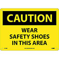 "Safety Signs - Caution Wear Safety Shoes - Rigid Plastic 10""H X 14""W"