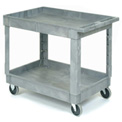 "Plastic 2 Shelf Tray Service & Utility Cart 40x26, 5"" Rubber Casters"