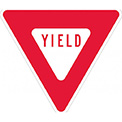 "Aluminum Sign - Yield - .080"" Thick - Red/White, TM124J"