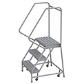 "3 Step Aluminum Rolling Ladder, 24""W Grip Step, 30"" Handrails"