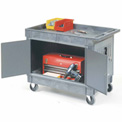 "Mobile Tray Top Shelf Maintenance Cart with 5"" Rubber Casters"