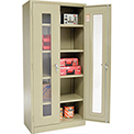Global™ Clear View Storage Cabinet Easy Assembly 36x18x78 - Tan
