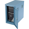 Enclosed Computer CPU Tower Cabinet Side Car - Blue