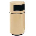 Fiberglass Trash Container with Dome Top - 32 Gallon Capacity Tan