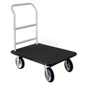Glaro Bellman Hotel Truck 35x25 Satin Aluminum 1 Handle, Black Carpet, Rubber Wheels