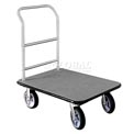 Glaro Bellman Hotel Truck 35x25 Satin Aluminum 1 Handle, Gray Carpet, Rubber Wheels