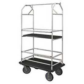 Glaro Bellman Condo Cart 40x25 Satin Aluminim Black Carpet, 4 Rubber Wheels