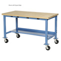 "72""W x 36""D Mobile Production Workbench with Power Apron - Shop Top Safety Edge - Blue"