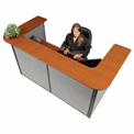 "Interion™ U-Shaped Reception Station, 88"" W x 44""D x 44""H, Cherry Counter, Gray Panel"