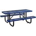 "72"" Rectangular Expanded Metal Picnic Table Blue"