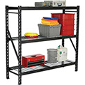 "Heavy Duty Storage Rack with Wire Decking - Black 77""W x 24""D x 72""H"