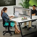 Translucent Partition for Double Collaboration Desk