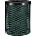 Global™ Thermoplastic Coated 32 Gallon Mesh Receptacle w/Flat Lid - Green
