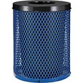 Global™ Thermoplastic Coated 32 Gallon Mesh Receptacle w/Flat Lid - Blue