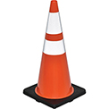 "28"" Traffic Cone, Reflective, Black Base, 7 lbs"