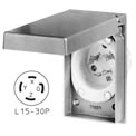 Bryant 71530MBWP Weather Protective Power Inlets, L15-30, 30A, 3ph 250V, Aluminum