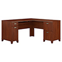 "Bush Furniture L Desk - 60"" - Hansen Cherry - Tuxedo Series"