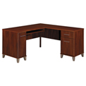 "Bush Furniture L-Desk - 60"" W - Hansen Cherry - Somerset Series"