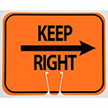 Cone Sign- Keep Right, Black On Orange W/ Arrow - Pkg Qty 5