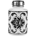 Menda 35589 Pure-Touch Steel Liquid Dispenser Round Glass Opaque White With Black Damask Print 6 oz