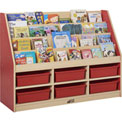 "ECR4Kids® Large Book Stand, 6-Compartment, 48""W x 15""D x 36""H, Red"