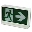 LED Exit Sign, Green Color, Double Face, Battery Backup, 120/347 Volt