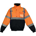 GSS Safety 8002 Class 3 Waterproof Quilt-Lined Bomber Jacket, Orange/Black, XL
