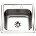 Houzer 1515-6BS-1 Drop In Stainless Steel 2-Holes Bar/Prep Sink