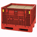 "Folding Bulk Shipping Container w/ Lid - 48"" x 45"" x 34"" - 2000 Lb. Capacity - Plastic - Red"