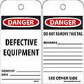 "NMC RPT59 Tags, Danger Defective Equipment, 6"" X 3"", White/Red/Black, 25/Pk"