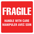 "Fragile Handle With Care Shipping Label -  4"" X 4"" - Bilingual"
