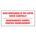 "Mixed Merchandise Shipping Label -  6"" X 3"" - Bilingual"