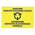 "Caution Sensitive Electronic Devices Shipping Label -  3"" X 2"" - Bilingual"