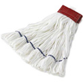 Medium Rough Floor Looped-End Cotton/Synthetic Wet Mop Head, White 12/Pack - RCPT255